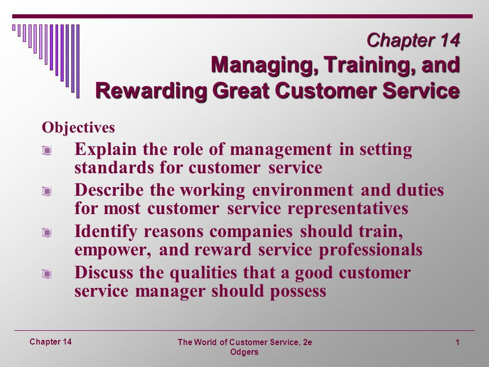 Chapter 14 Managing, Training, and Rewarding Great Customer ...