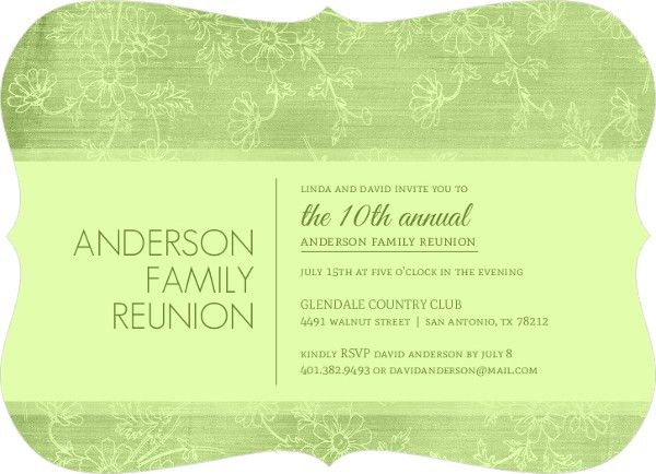Texture Green Floral Family Reunion Invitation | Reunion Invitations