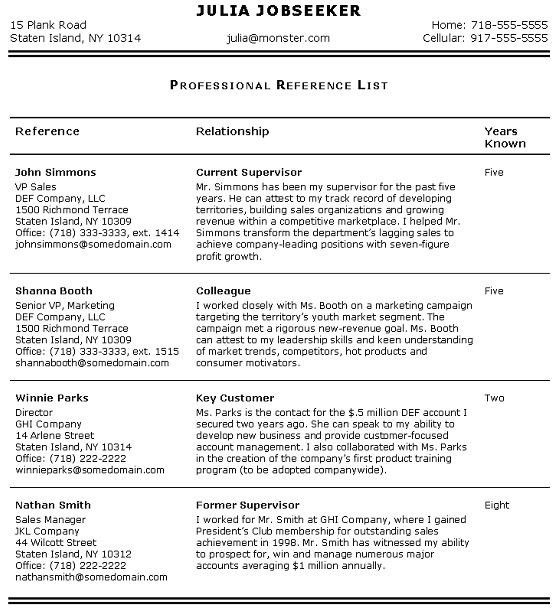 Resume References Template | health-symptoms-and-cure.com