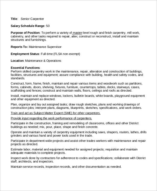 Sample Carpenter Job Description - 10+ Examples in Word, PDF