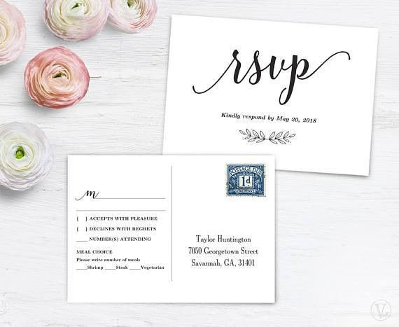 RSVP Postcard Template Printable Wedding Postcard RSVP Card