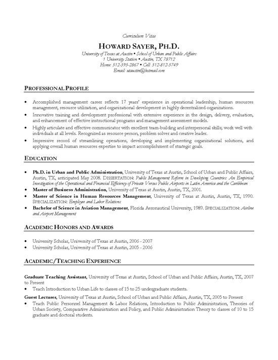Manager CV Example - HR Ph.D