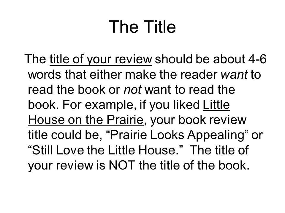 Purpose: (Why you're writing a book review.) - ppt video online ...