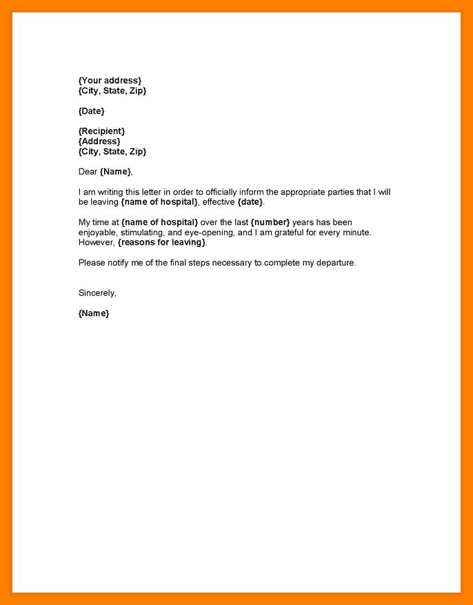 Resignation Format With One Month Notice.simple Resignation Letter ...