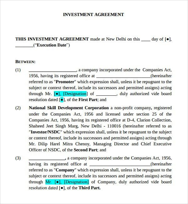 Sample Business Investment Agreement - 7+ Free Documents Download ...