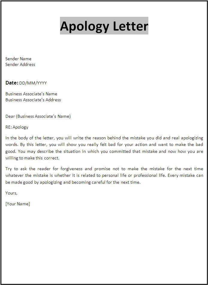 Business Apology Letter Sample For Ms Word Or PDF Format : Vatansun