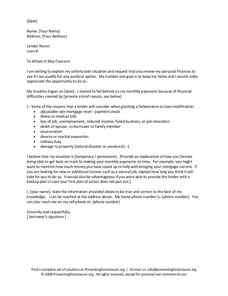 Hardship Letter For Mortgage | business letter template