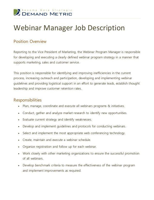 Webinar program manager job description