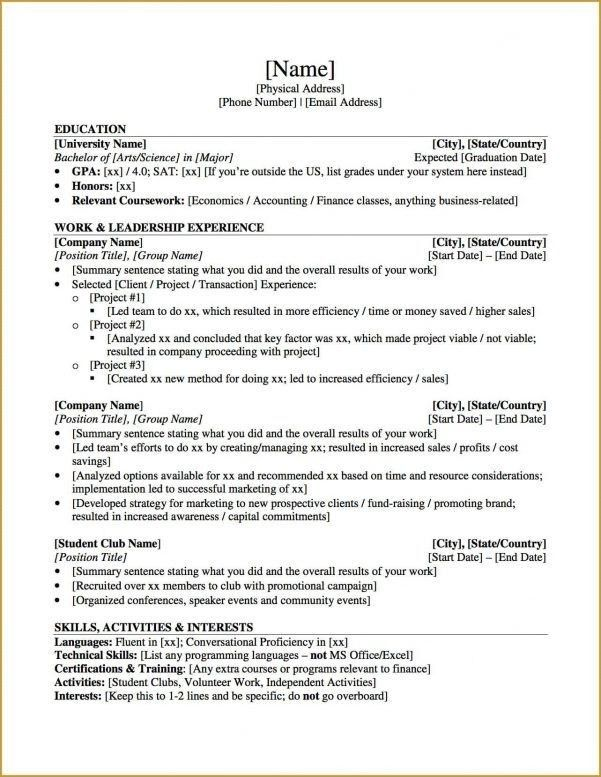 Professional Resume For Graduate School - Best Resume Collection