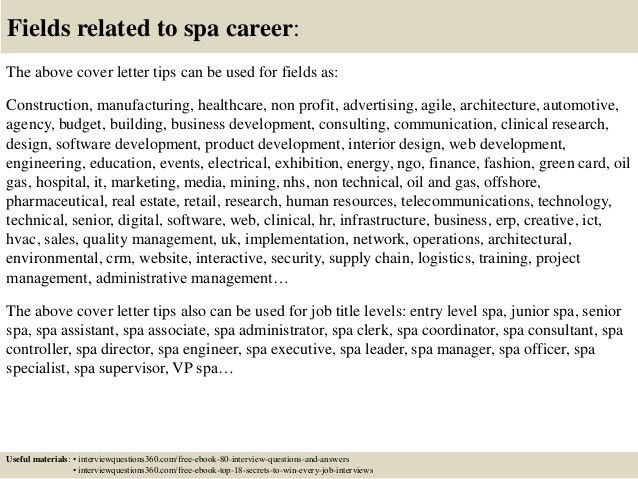 Top 10 spa cover letter tips