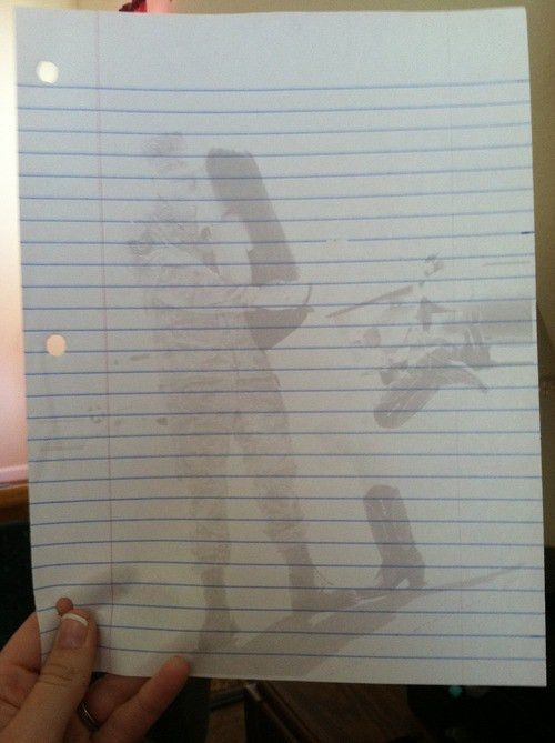 "Print a ""washed out"" pictures onto lined paper, then write a ..."
