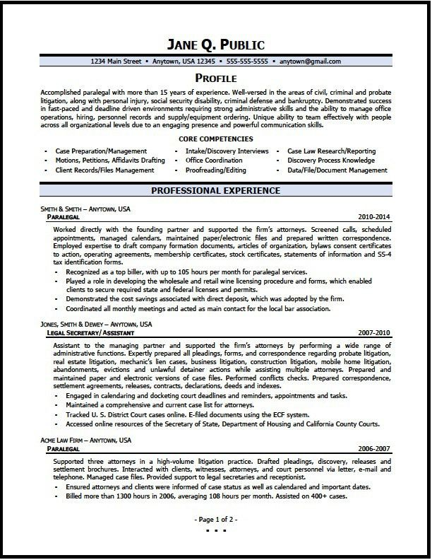 Paralegal Resume Sample - The Resume Clinic