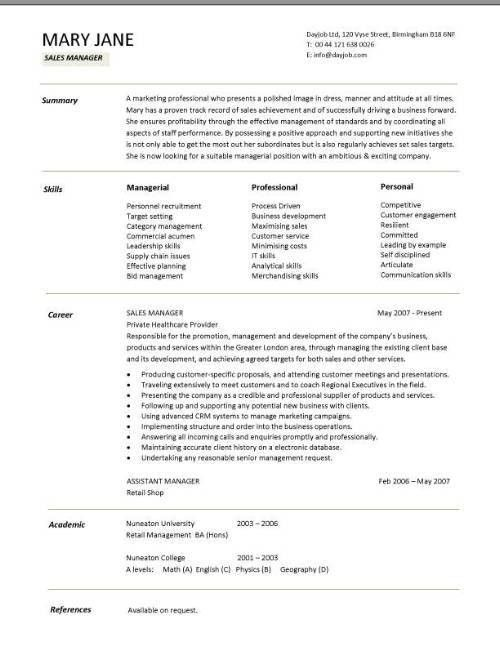 Sales Manager CV example, free CV template, sales management jobs ...