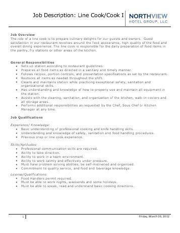 Job Description – Line Cook - OWH