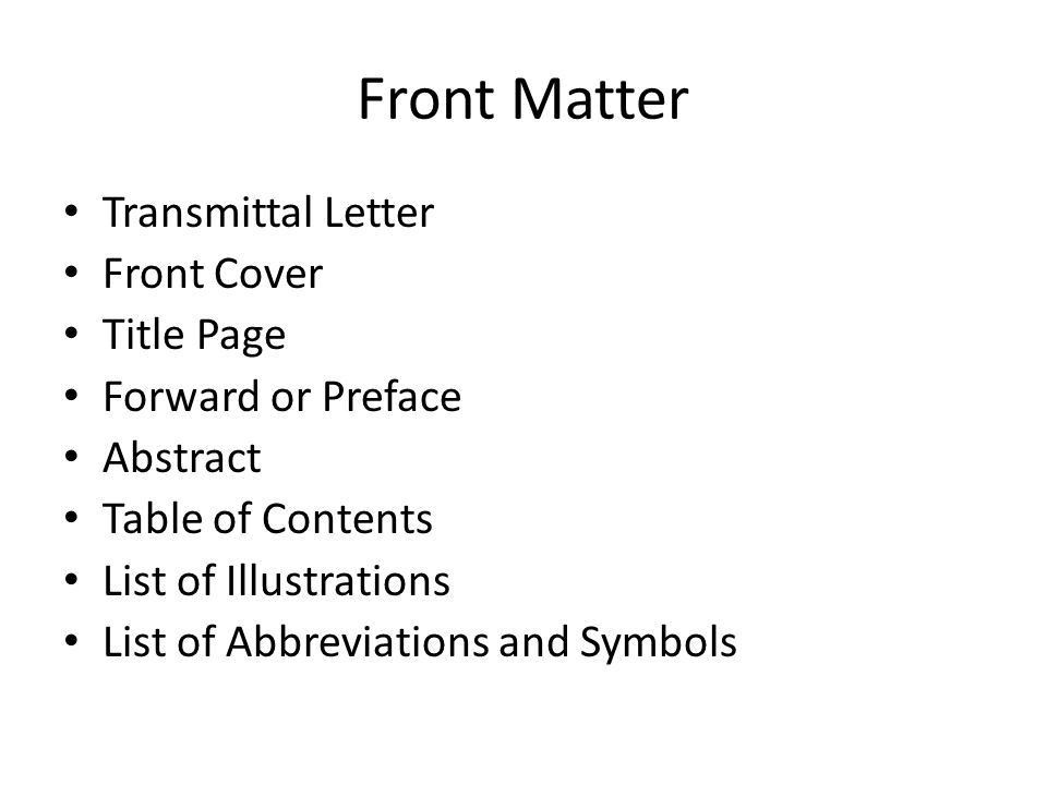 Front Matter Transmittal Letter Front Cover Title Page Forward or ...