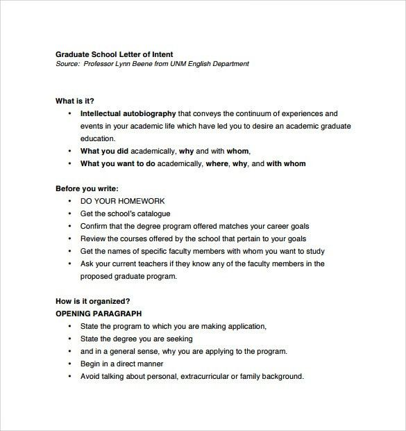 Letter Of Intent Graduate School -7+ Free Samples, Examples & Formats