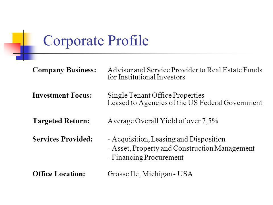 Corporate Profile Company Business: Advisor and Service Provider ...