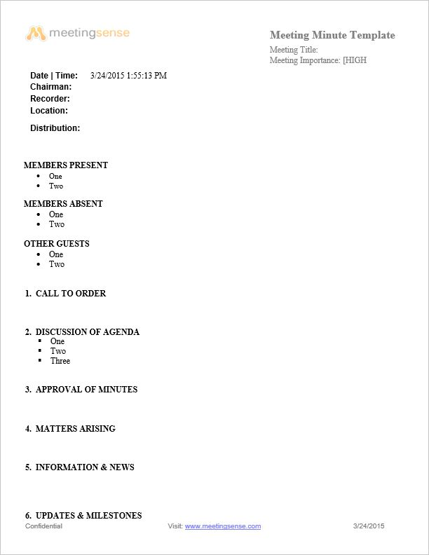 Meeting Minutes Sample | Free Meeting Minutes Template