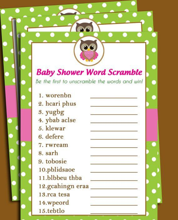 Owl Baby Shower Word Scramble Printable - Lil' Owl Collection ...