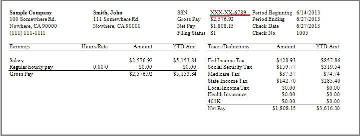 How Can I Hide Social Security Numbers on Payroll Check Stubs?