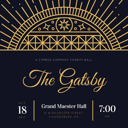 Dark Blue and Gold Great Gatsby Invitation - Templates by Canva