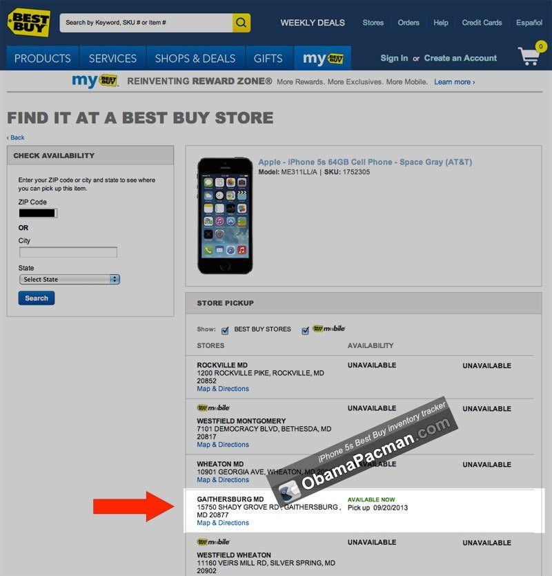 Best Buy iPhone 5s inventory tracker | Obama Pacman