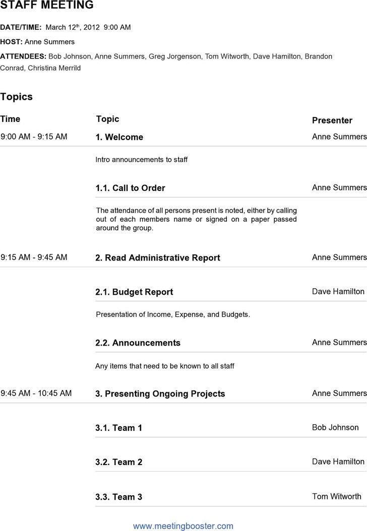 Staff Meeting Agenda Template. Church Staff Meeting Agenda ...