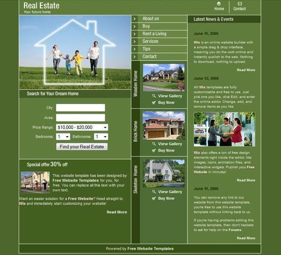 House for sale template - Free Templates Download Buy website ...