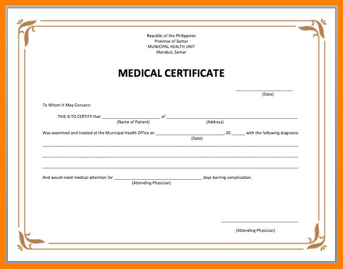 7+ medical certificate example   science-resume