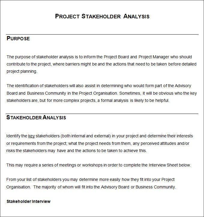 Stakeholder Analysis Template - 5+ Free Word, Excel, PDF Documents ...