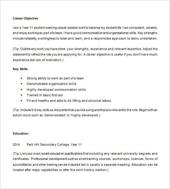 Download Student Resume Templates | haadyaooverbayresort.com