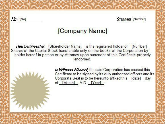 6 Best Images of Stock Certificate Template For Word - Stock ...