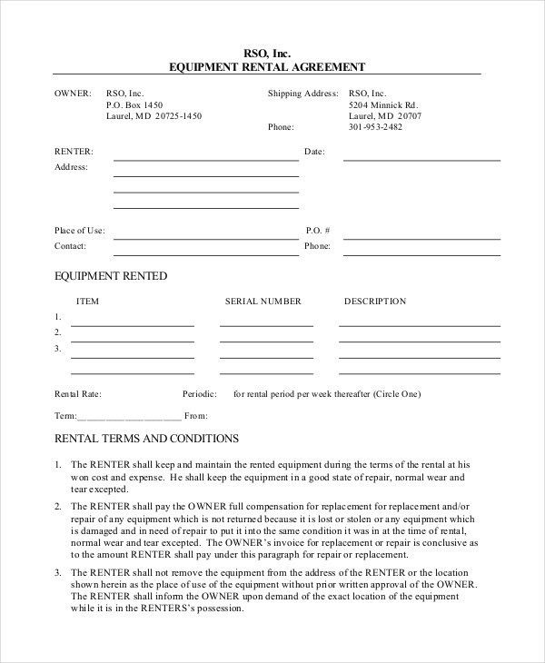 Rental Agreement Form. General Office Use Forms - Mccathren ...