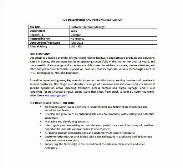 10+ Account Manager Job Description Templates – Free Sample ...