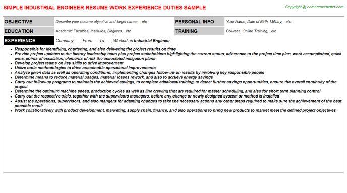 Industrial Engineer Job Title Docs