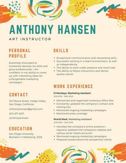 Colorful Paint Brush Strokes Creative Resume - Templates by Canva