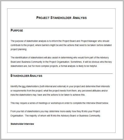 Project Stakeholder Analysis Template. stakeholder analysis ...