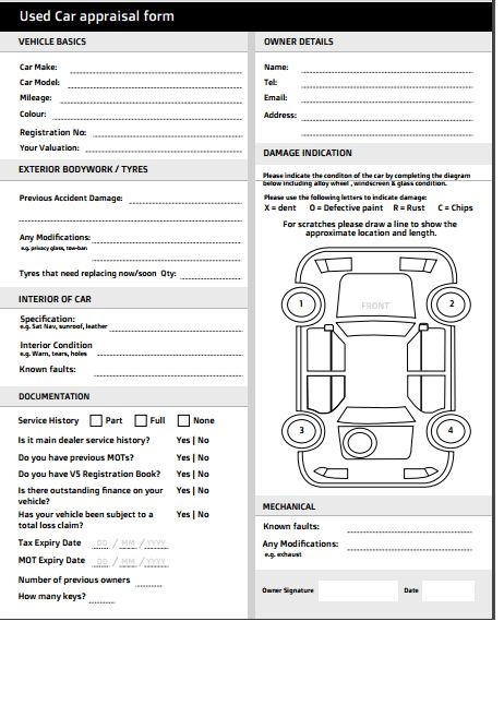 Car Appraisal Forms - Find Word Templates
