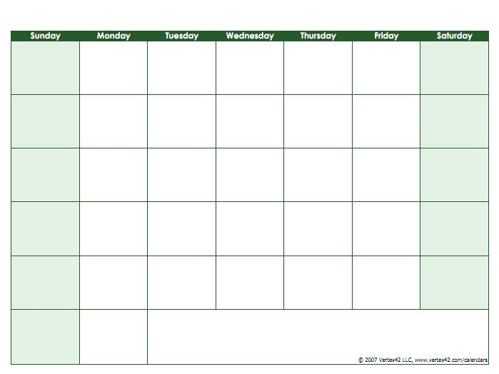 Blank Calendar Template - Free Printable Blank Calendars by Vertex42