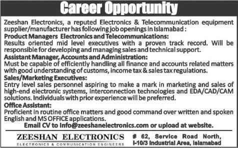 Zeeshan Electronics Islamabad Jobs 2015 Managers, Office Assistant ...