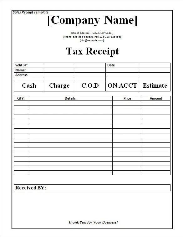Receipt Template Word Doc | Best Business Template