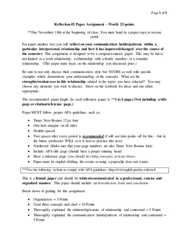Interpersonal Communication Reflection Paper #2 Assignment