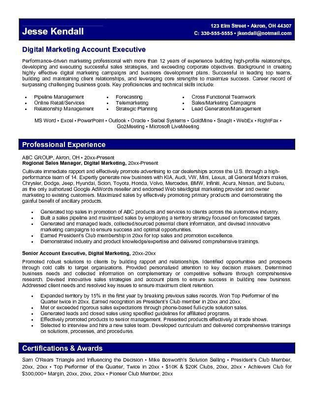 Account Executive Resume Sample | Free Resumes Tips