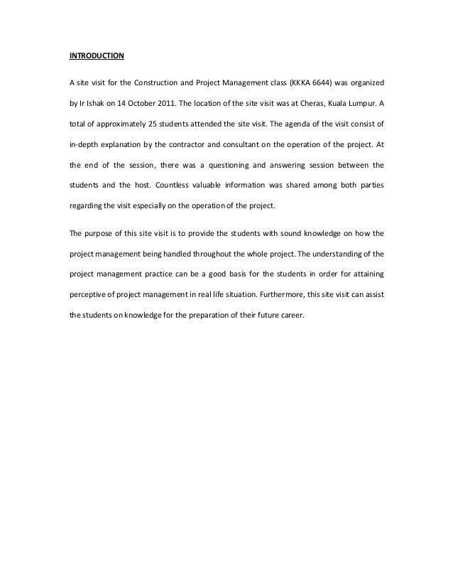 Assignment 1 Site Visit Report