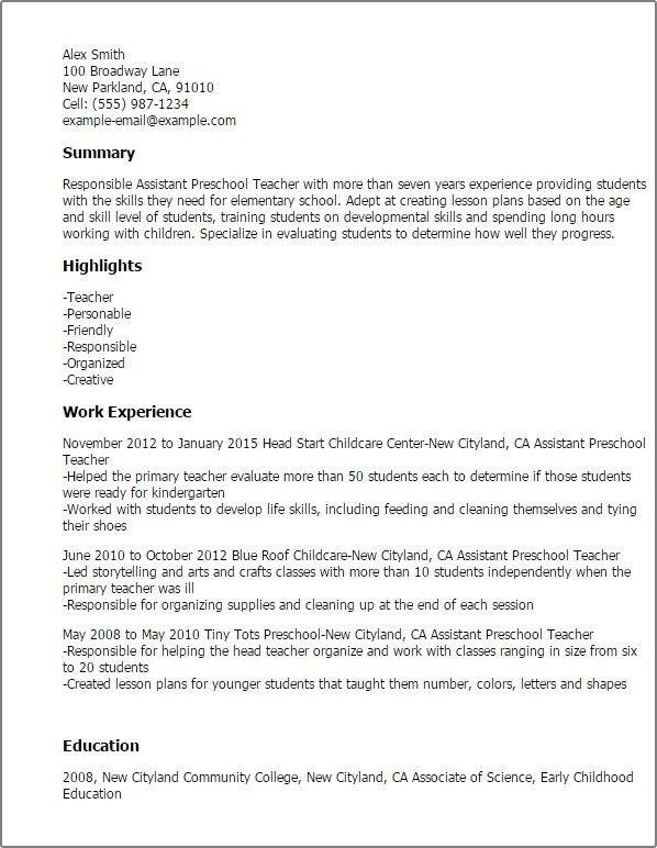 Sample Resume For Preschool Teacher Fresher - Templates
