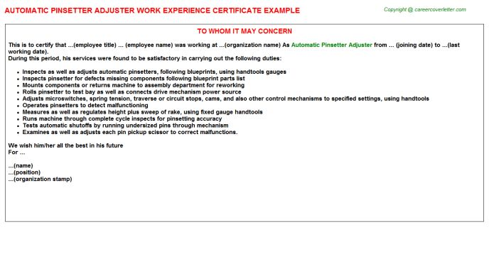 Allstate Claims Adjuster Work Experience Letters