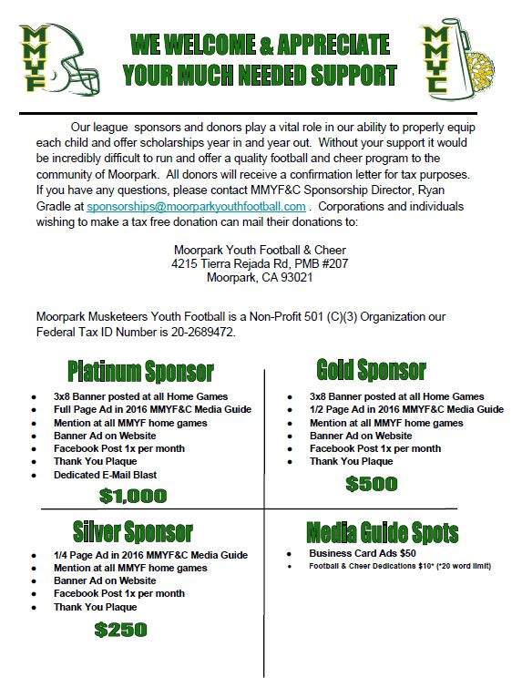 Become A Sponsor | Moorpark Musketeers Youth Football