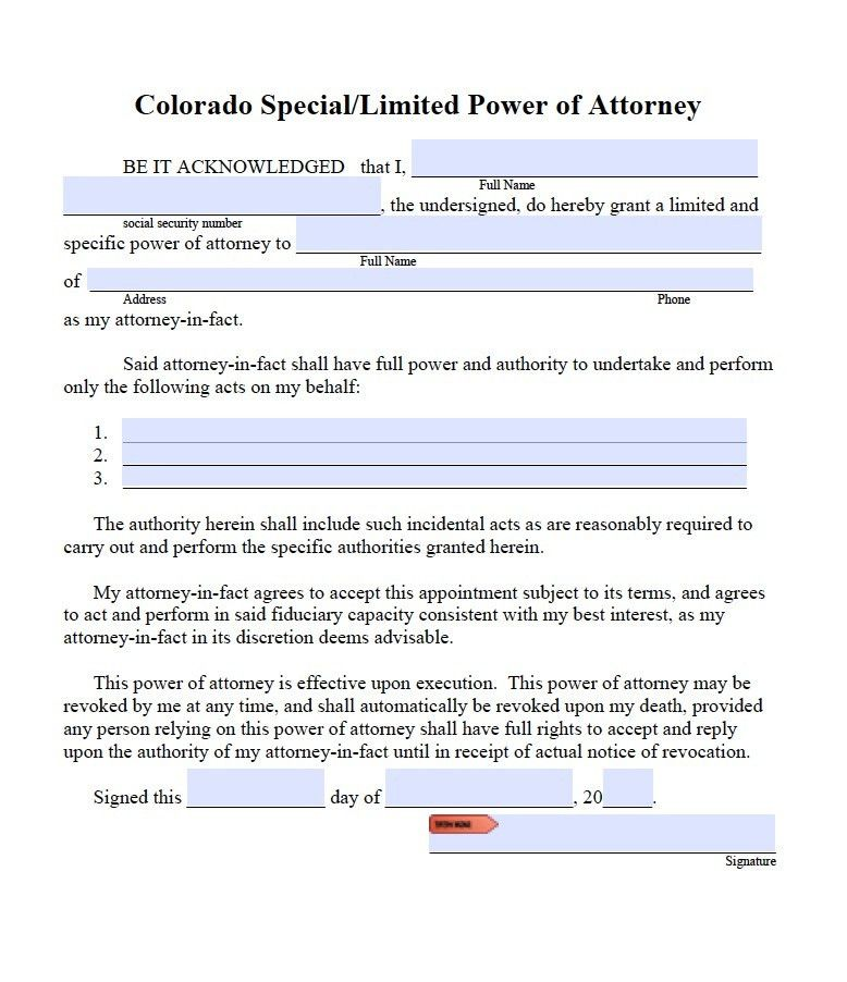 Free Limited Power of Attorney Colorado Form – PDF – Word