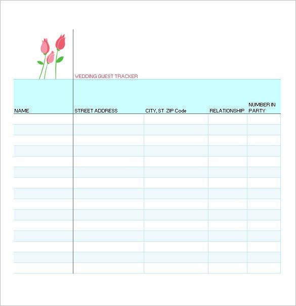 Wedding Guest List Template – 10+ Free Word, Excel, PDF Format ...