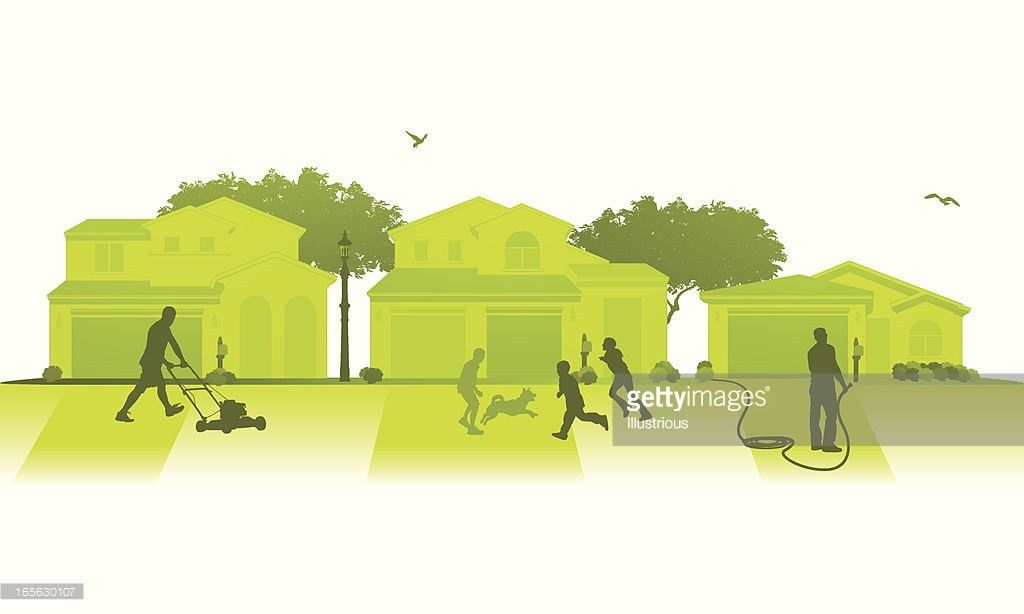 Isolated Neighborhood Lawn Care Scene Vector Art | Getty Images